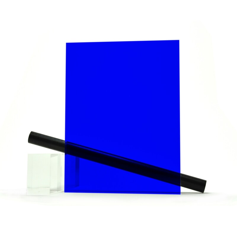 Plaque Plexiglass sur mesure (PMMA Coulé) Bleu Brillant ep 3 mm ref : Altuglas 100-13000