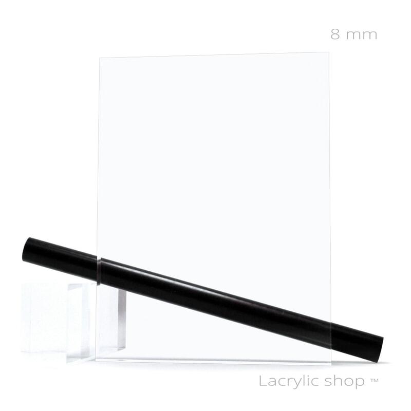 Plexiglass (PMMA Coulé) transparent sur mesure ep 8 mm