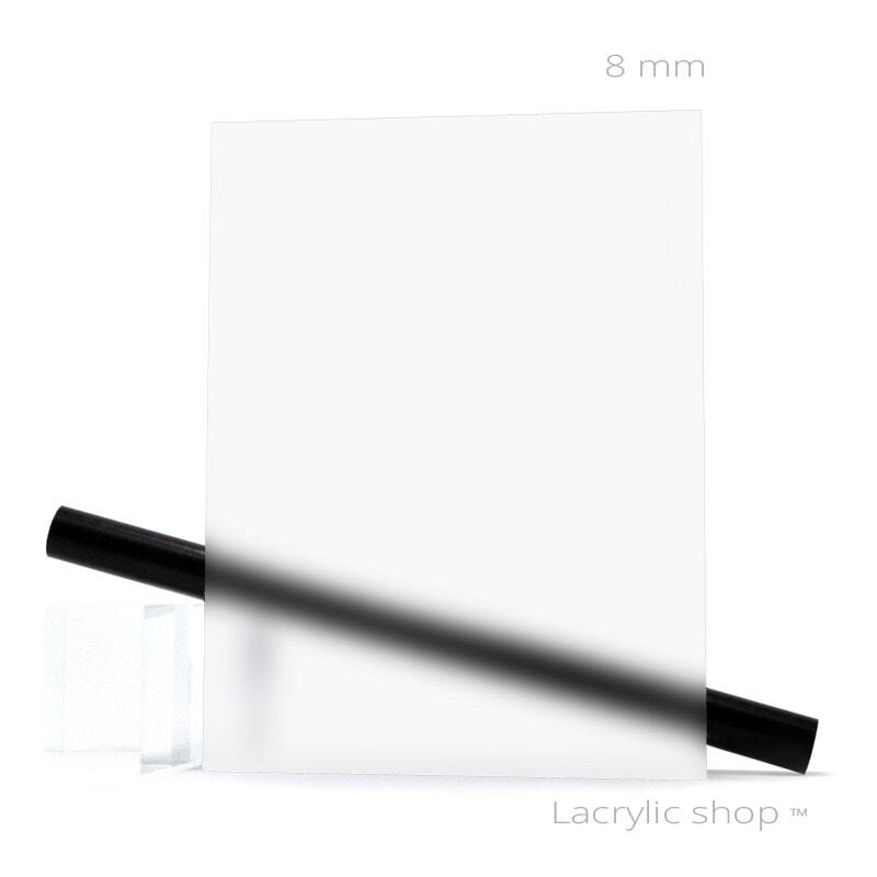 Plexiglas Satinice 0F00 Satinglas Incolore sur mesure ep 8 mm