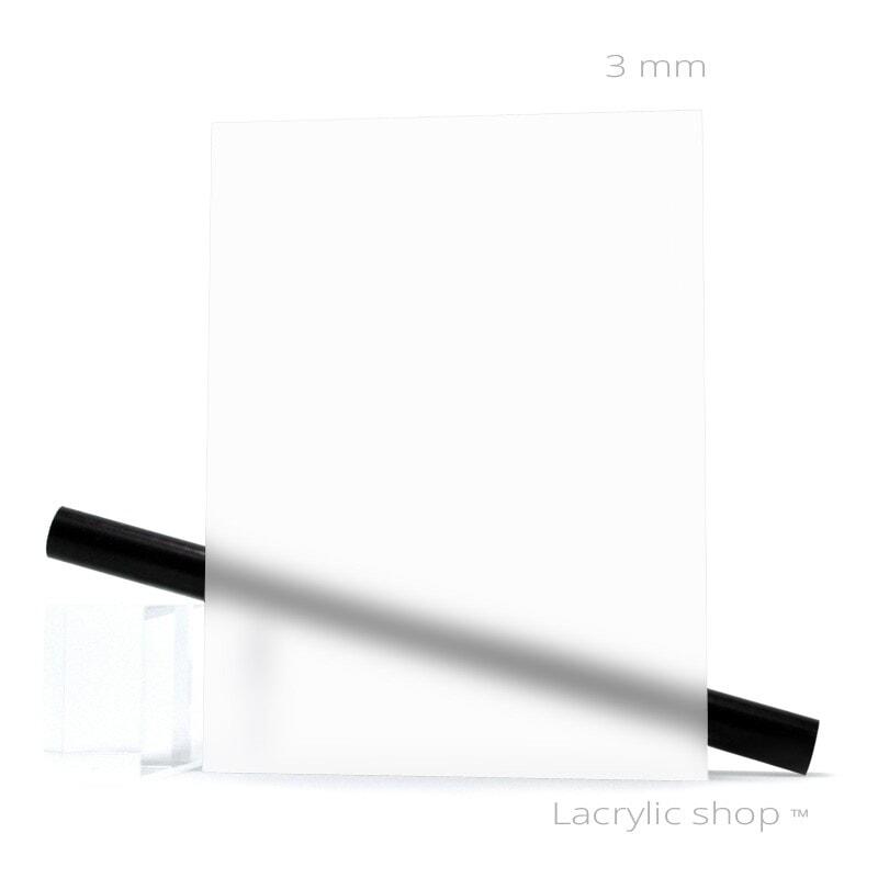 Plexi Satin Mat Satinice Satinglas Frost Blanc sur mesure ep 3 mm