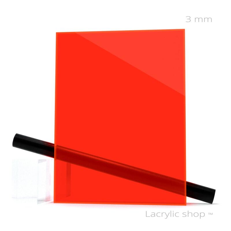 Plexiglass sur mesure Rouge Fluo ep 3 mm ref  Perspex 4T56