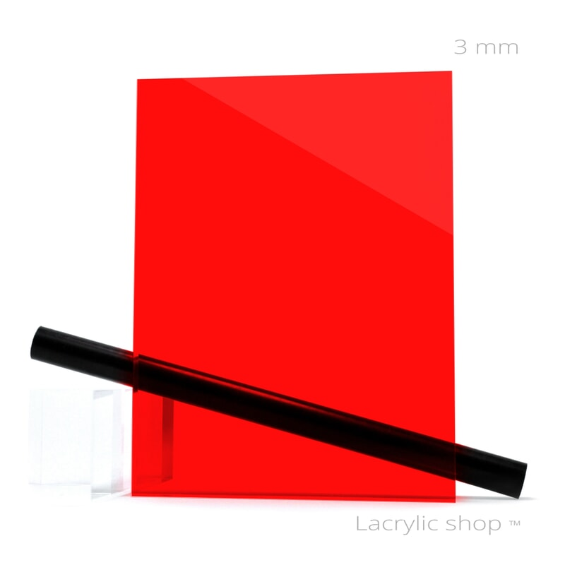 Plexiglass sur mesure Rouge Transparent ep 3 mm ref : Altuglas 100-12000, Setacryl 1039, Plexiglas 3C01, Perspex 4401