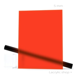 Plexiglass sur mesure Rouge Fluo Satin Mat ep 5 ref Satinglas 51134