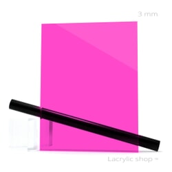 Plexiglass sur mesure Rose Fuchsia transparent ep 3 mm ref Setacryl 1232