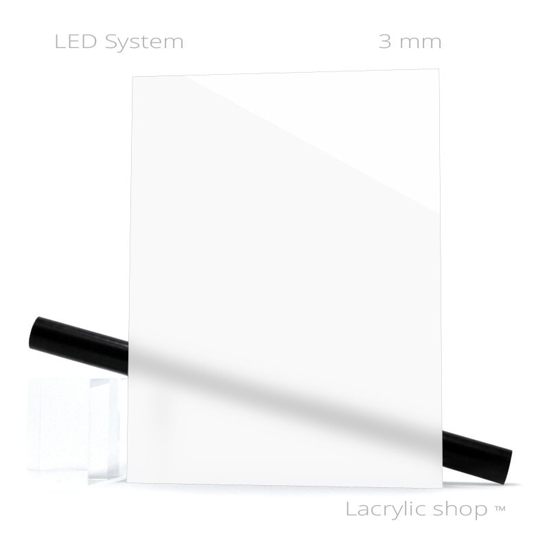 Plaque Plexiglass sur mesure Perspex LED 1TL 1 Blanc LED ep 3 mm
