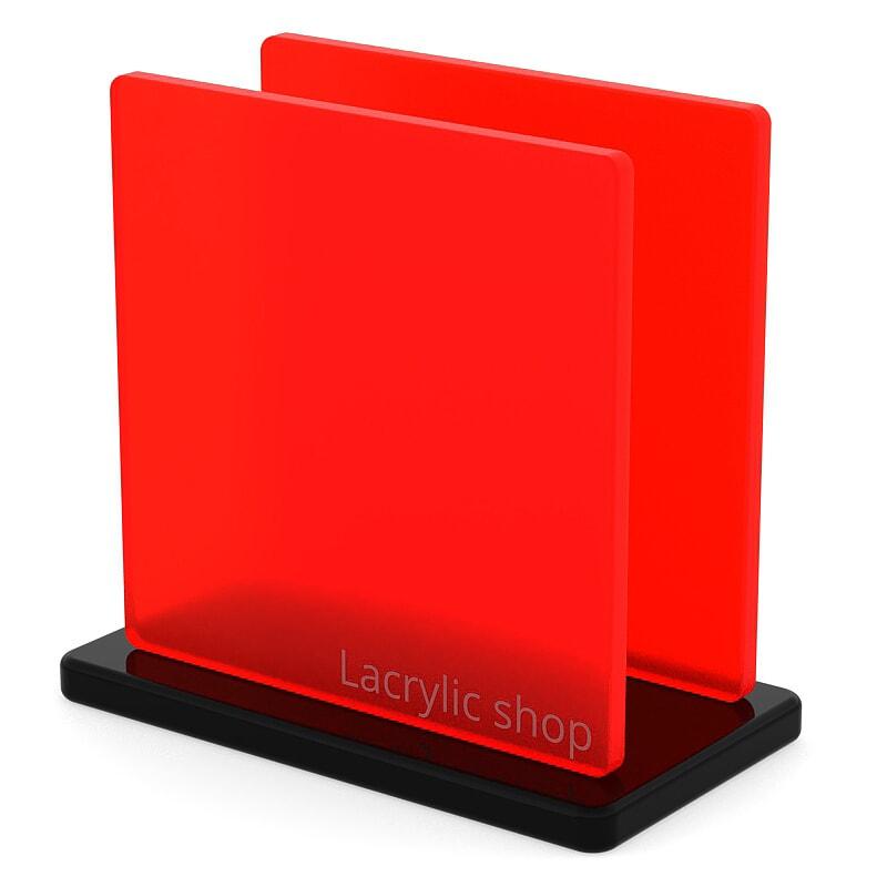Plexiglass sur mesure Rouge Fluo Mat ep 5 : Satinglas 51134